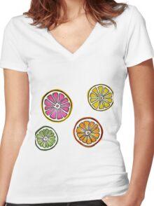 summer fruit Women's Fitted V-Neck T-Shirt