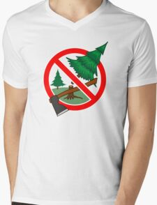 Stop cutting down live trees for Christmas sign Mens V-Neck T-Shirt