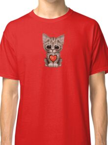 Cute Kitten Cat with Chinese Flag Heart Classic T-Shirt