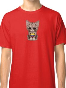 Cute Kitten Cat with Colombian Flag Heart Classic T-Shirt