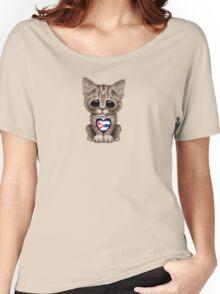 Cute Kitten Cat with Cuban Flag Heart Women's Relaxed Fit T-Shirt
