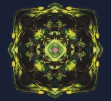 Yellow fractal mandala T  by Manafold Art