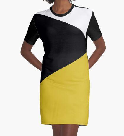 Blocks - Mustard & Black Graphic T-Shirt Dress