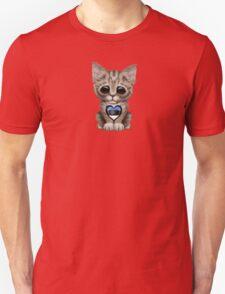 Cute Kitten Cat with Estonian Flag Heart Unisex T-Shirt