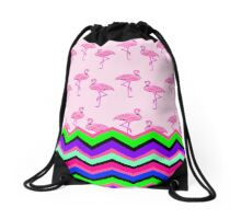 Pink Flamingo Pattern Neon Chevron Stripes Drawstring Bag
