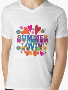 Sixties style mod pop art psychedelic colorful Summer Lovin text design Mens V-Neck T-Shirt