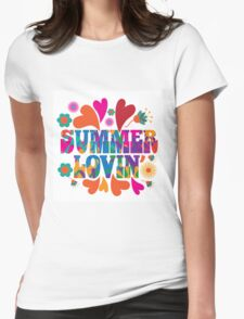 Sixties style mod pop art psychedelic colorful Summer Lovin text design Womens Fitted T-Shirt