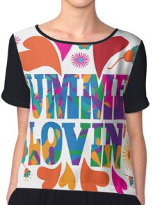 Sixties style mod pop art psychedelic colorful Summer Lovin text design Chiffon Top