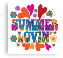 Sixties style mod pop art psychedelic colorful Summer Lovin text design Canvas Print
