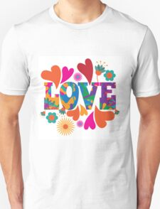 Sixties style mod pop art psychedelic colorful Love text design Unisex T-Shirt