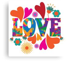 Sixties style mod pop art psychedelic colorful Love text design Canvas Print