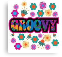 Sixties style mod pop art psychedelic colorful Groovy text design Canvas Print