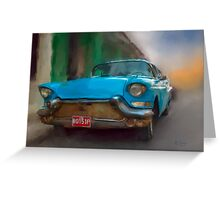 Old Blue Car. Cuba Greeting Card