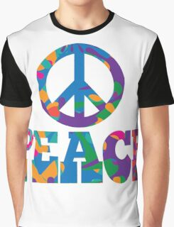 Sixties style mod pop art psychedelic colorful Peace text design Graphic T-Shirt
