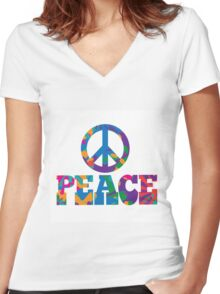 Sixties style mod pop art psychedelic colorful Peace text design Women's Fitted V-Neck T-Shirt