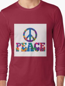 Sixties style mod pop art psychedelic colorful Peace text design Long Sleeve T-Shirt