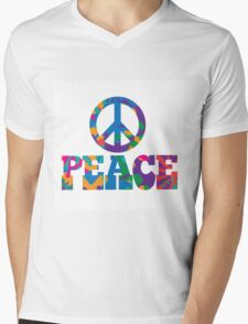 Sixties style mod pop art psychedelic colorful Peace text design Mens V-Neck T-Shirt