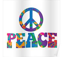 Sixties style mod pop art psychedelic colorful Peace text design Poster