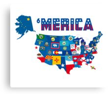 Patriotic America Map With States Flags iPod / iPhone 4  / iPhone 5 Case / Samsung Galaxy Cases  Canvas Print
