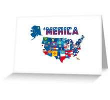 Patriotic America Map With States Flags iPod / iPhone 4  / iPhone 5 Case / Samsung Galaxy Cases  Greeting Card