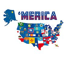 Patriotic America Map With States Flags iPod / iPhone 4  / iPhone 5 Case / Samsung Galaxy Cases  Photographic Print