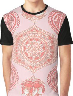 Indian Paisley Motif Pink Pattern Graphic T-Shirt