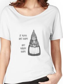 If Mama Ain't Happy ... Pencil Drawing of Smiling Gnome Woman Women's Relaxed Fit T-Shirt