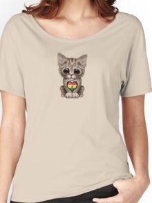 Cute Kitten Cat with Ghana Flag Heart Women's Relaxed Fit T-Shirt