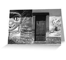 Door in Graffiti Covered Wall Greeting Card