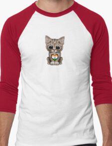 Cute Kitten Cat with Indian Flag Heart Men's Baseball ¾ T-Shirt