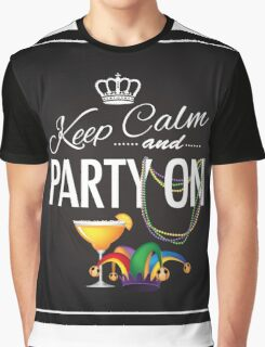 Keep calm and party on Cinco De Mayo blackboard design Graphic T-Shirt
