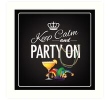 Keep calm and party on Cinco De Mayo blackboard design Art Print