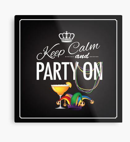 Keep calm and party on Cinco De Mayo blackboard design Metal Print