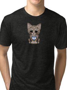 Cute Kitten Cat with Israeli Flag Heart Tri-blend T-Shirt