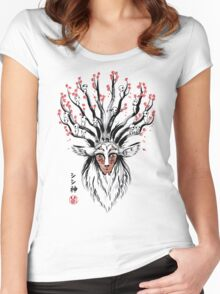 The Deer God sumi-e Women's Fitted Scoop T-Shirt