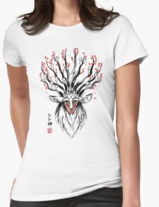 The Deer God sumi-e Womens Fitted T-Shirt