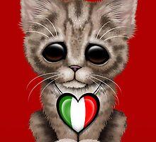 Cute Kitten Cat with Italian Flag Heart by Jeff Bartels