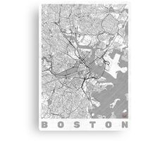 Boston Map Line Canvas Print