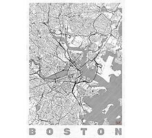 Boston Map Line Photographic Print