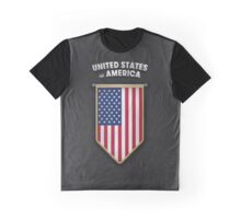 USA Pennant with high quality leather look Graphic T-Shirt