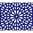 Islamic Geometry Art Blue on White by Muhammad Azim Ahad
