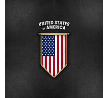 USA Pennant with high quality leather look Photographic Print