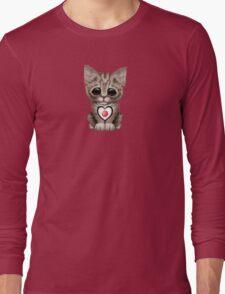 Cute Kitten Cat with Japanese Flag Heart Long Sleeve T-Shirt