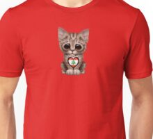 Cute Kitten Cat with Lebanese Flag Heart Unisex T-Shirt