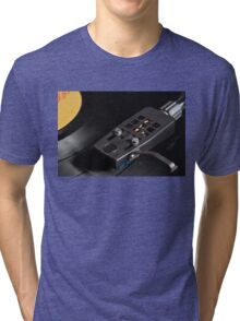 Vinyl Record Playing on a Turntable Overview Tri-blend T-Shirt