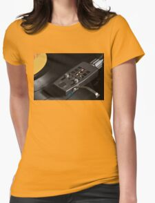 Vinyl Record Playing on a Turntable Overview Womens Fitted T-Shirt