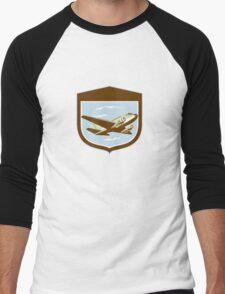 DC10 Propeller Airplane Flying Shield Retro Men's Baseball ¾ T-Shirt
