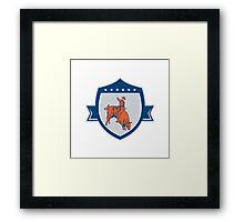 Rodeo Cowboy Bull Riding Retro Shield Framed Print