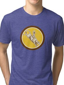 Rodeo Cowboy Bull Riding Retro Circle Tri-blend T-Shirt