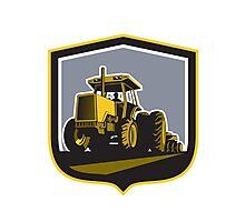 Farmer Driving Vintage Farm Tractor Plowing Retro Photographic Print